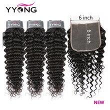 YYong 6X6 fermeture à ondes profondes avec faisceaux 14-30 pouces paquets de cheveux humains brésiliens avec fermeture à lacets avec cheveux de bébé expédition rapide