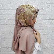 Exquisite Woman hijab Beading muslim wedding scarves malaysia chiffon plain hijabs islamic headscarf ladies femme musulman