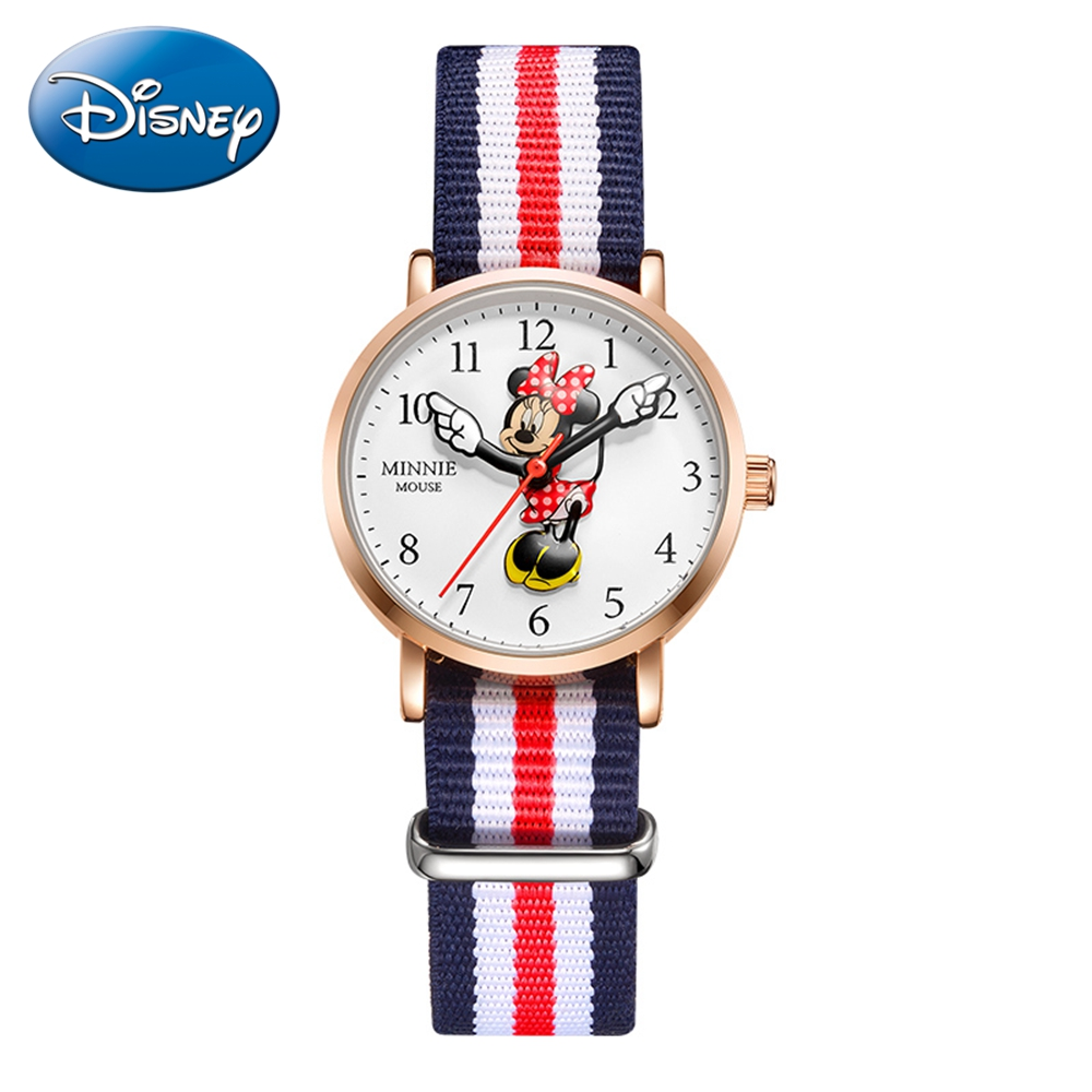 Minnie Mouse Cute Girls Nylon Band Leather Strap Disney Luxury Brand Kid Watch Beautiful Gift Student Fashion Clock Waterproof