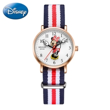 Minnie Mouse Cute Girls Nylon Band Leather Strap Disney Luxury Brand Kid