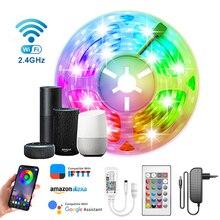 Kits de tira led inteligente 5050 rgb fita fita diodo luzes wi-fi bluetooth app controle lâmpada dc12v colores backlight tiras para sala