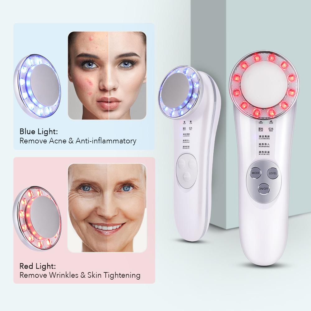 LED Photon Skin Rejuvenation Beauty Device Acne Pimple Wrinkle Removal Ultrasound Facial Lifting Mesotherapy Electroporation RF