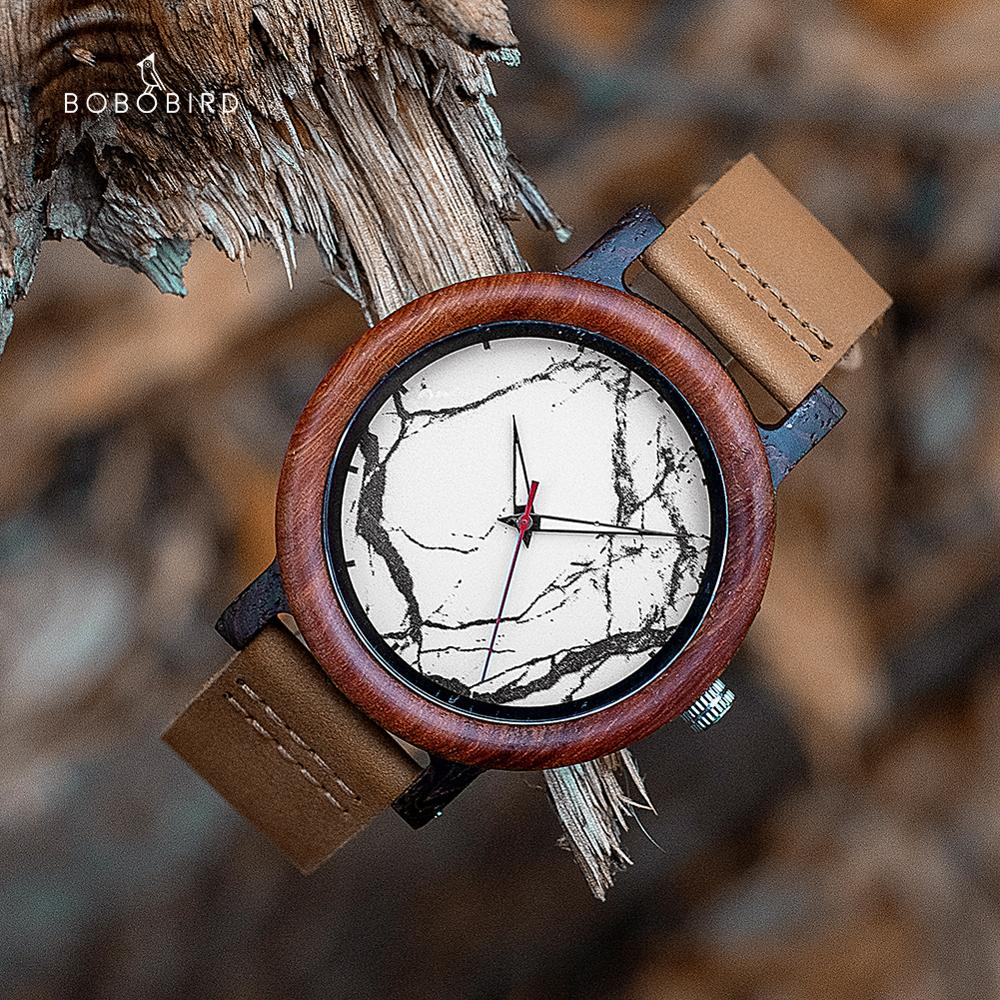 BOBO BIRD reloj Wood Couple Watches Men Women часы женские Quartz Wristwatches For Male Ladies Marble style In Gift box Dropship