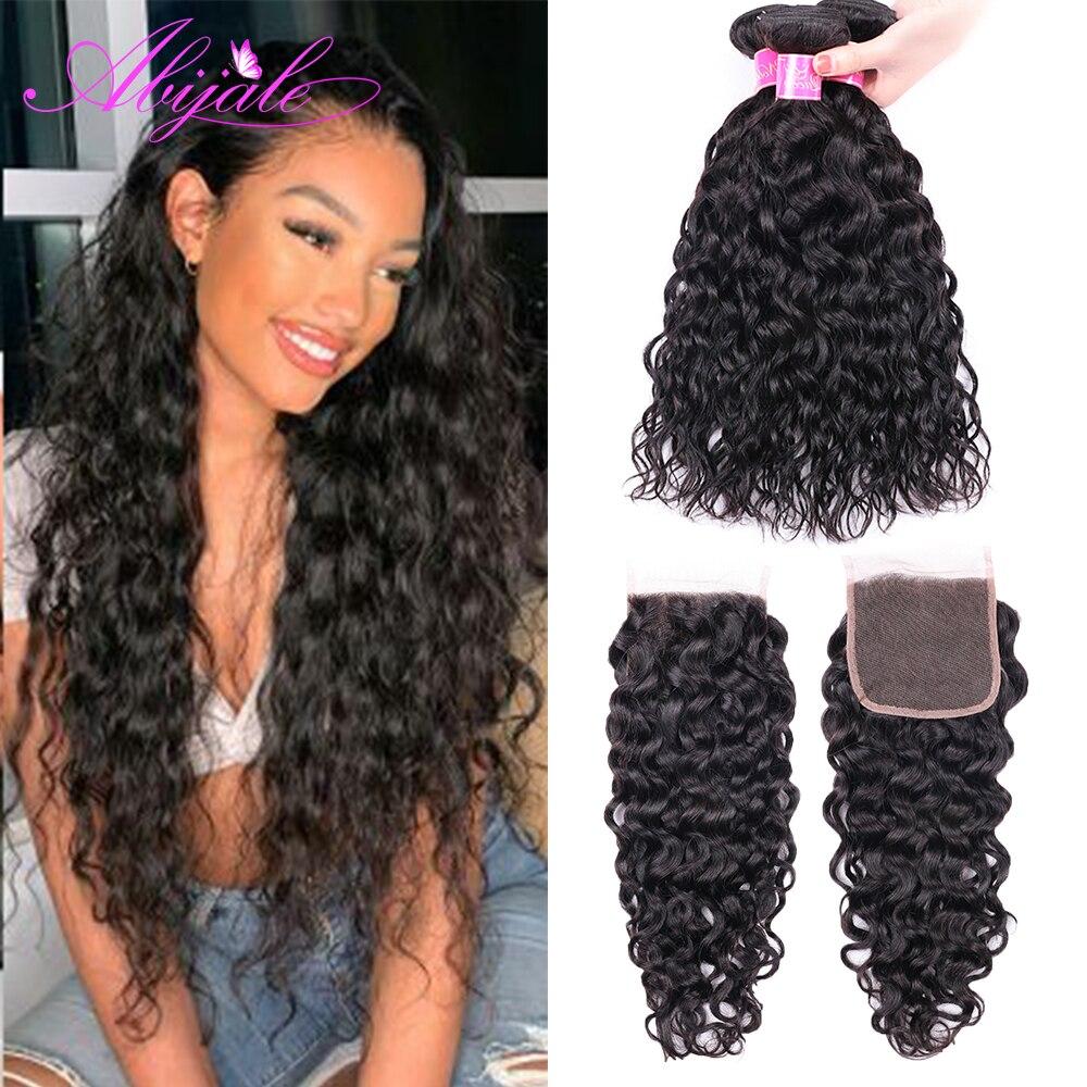Abijale волнистые пряди с закрытием бразильские волосы пряди с закрытием Remy человеческие волосы пряди с закрытием