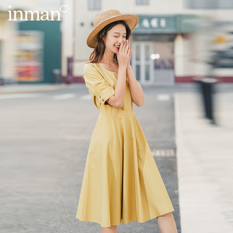 INMAN 2020 Spring New Arrival Literary Retro Pure Cotton Round Collar A-line Hem Short Sleeve Dress