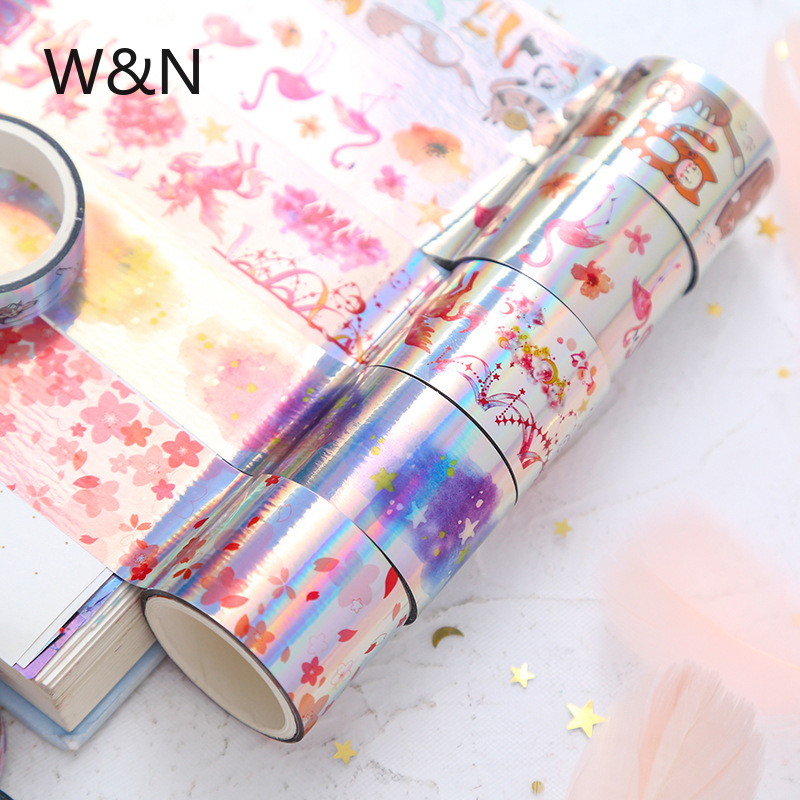 9 Pcs/lot Laser Unicorn Flamingo Starry Sky Flowers Washi Tape Set Diy Decoration For Scrapbooking Masking Tape Adhesive Tape