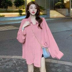 Retro Hong Kong sabor cuatro colores linterna manga cuello Polo nuevo estilo moda suelta Oversize adelgazamiento camisa blusas de mujer Fashi