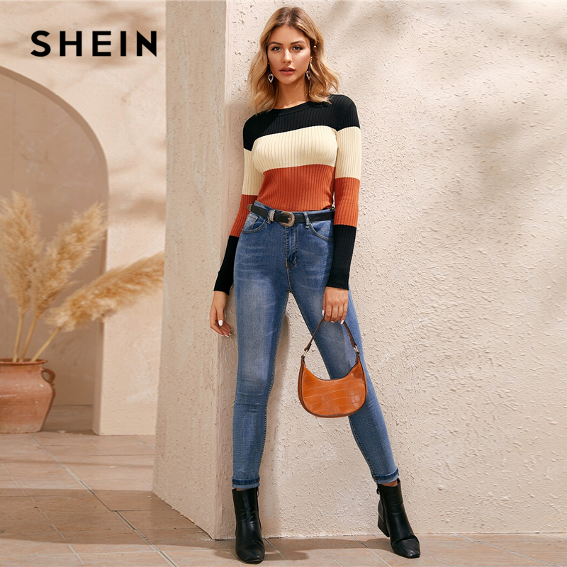 SHEIN Multicolor Colorblock Rib Knit Skinny Jumper Women Tops Winter Spring O-Neck Slim Fit Basic Casual Sweaters 2