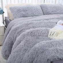 Velvet Bedding-Sets Duvet-Cover Faux-Fur Plush Queen-Size Solid-Color Pillowcase Twin