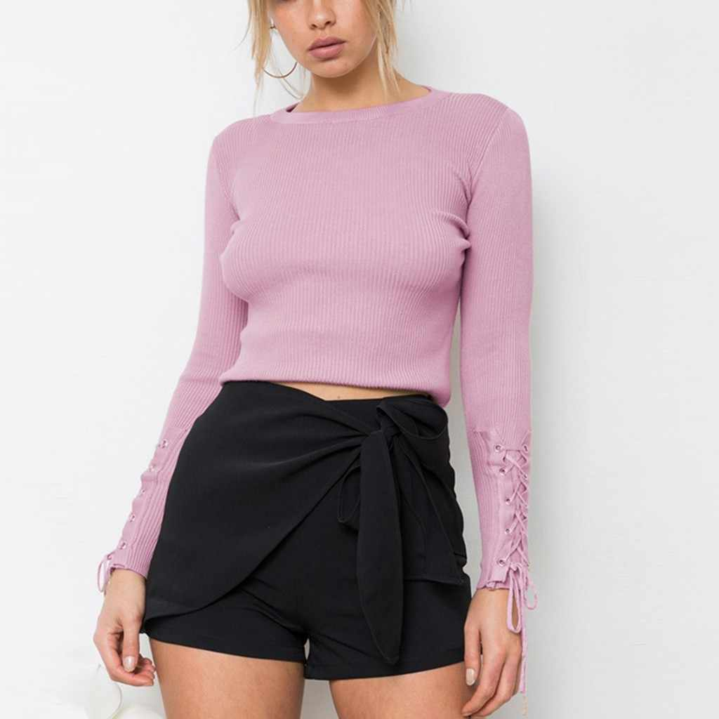 2019 Knitted Women o-neck Sweater Pullovers spring Autumn Basic Women Sweaters Wrap Pullover Slim Fit Black cheap top Aug2