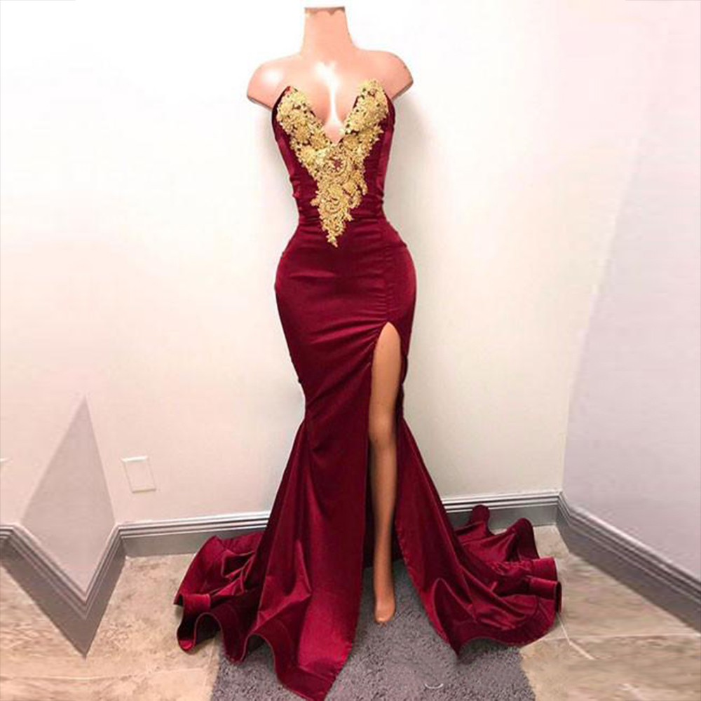 New Arrival Arabic Burgundy Prom Dresses Deep V Neck Evening Wear Gold Lace Appliqued Mermaid Front Split Formal Party Gowns E10