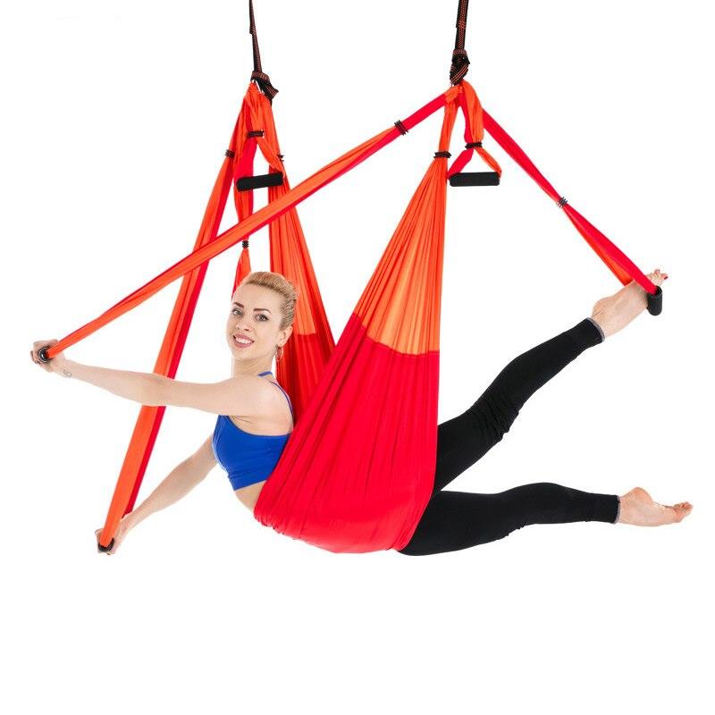 6 Handles Aerial Yoga Hammock Flying Swing Anti-gravity Yoga Pilates Inversion Exercises Device Home GYM Hanging Belt 20 Colors(China)