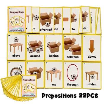 24 unids/set Prepositions instrumento de gestos de construcción niños inglés aprendizaje Tarjeta de palabras bolsillo Flash Montessori juguetes educativos