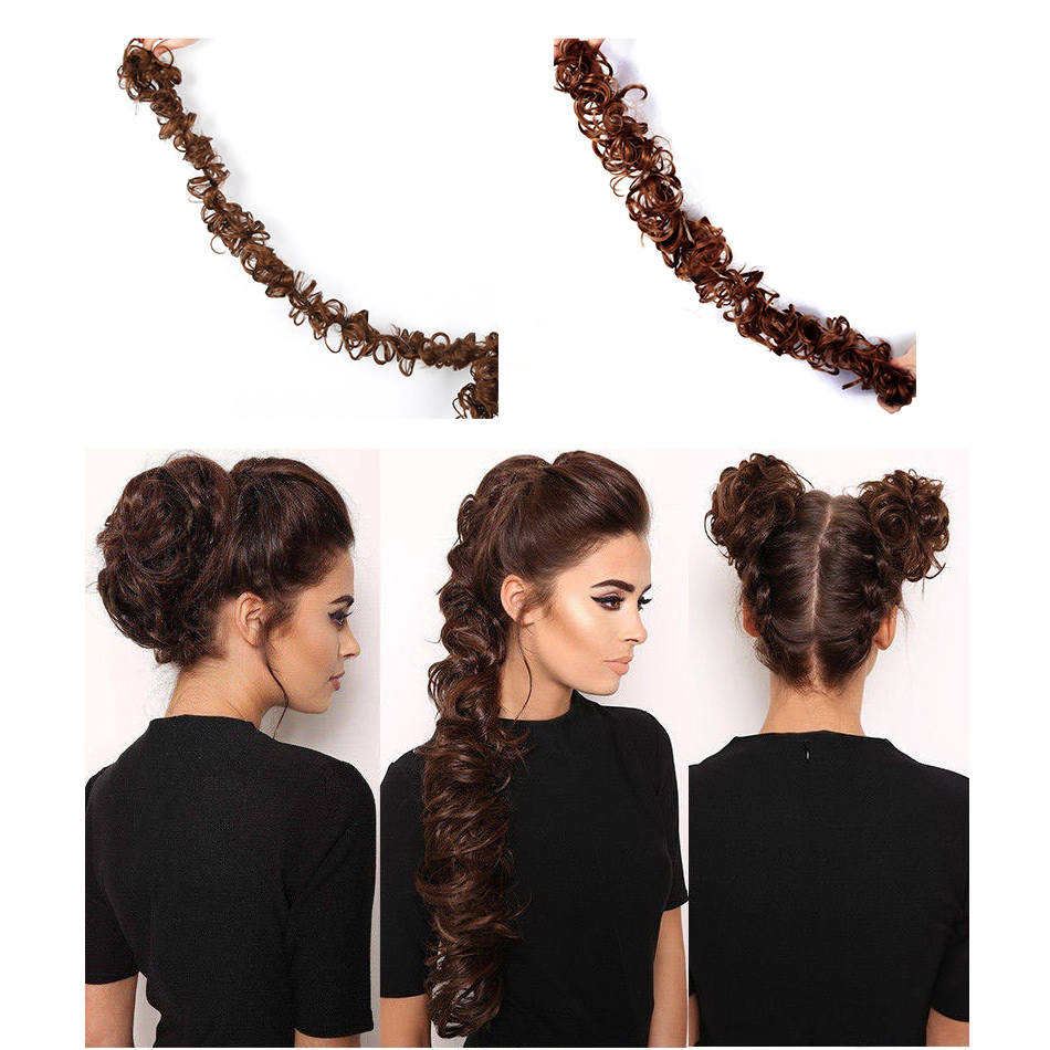 MUMUPI Fashion Women Synthetic Hair Bun Long Curly Chignon Hair Extension headwear title=