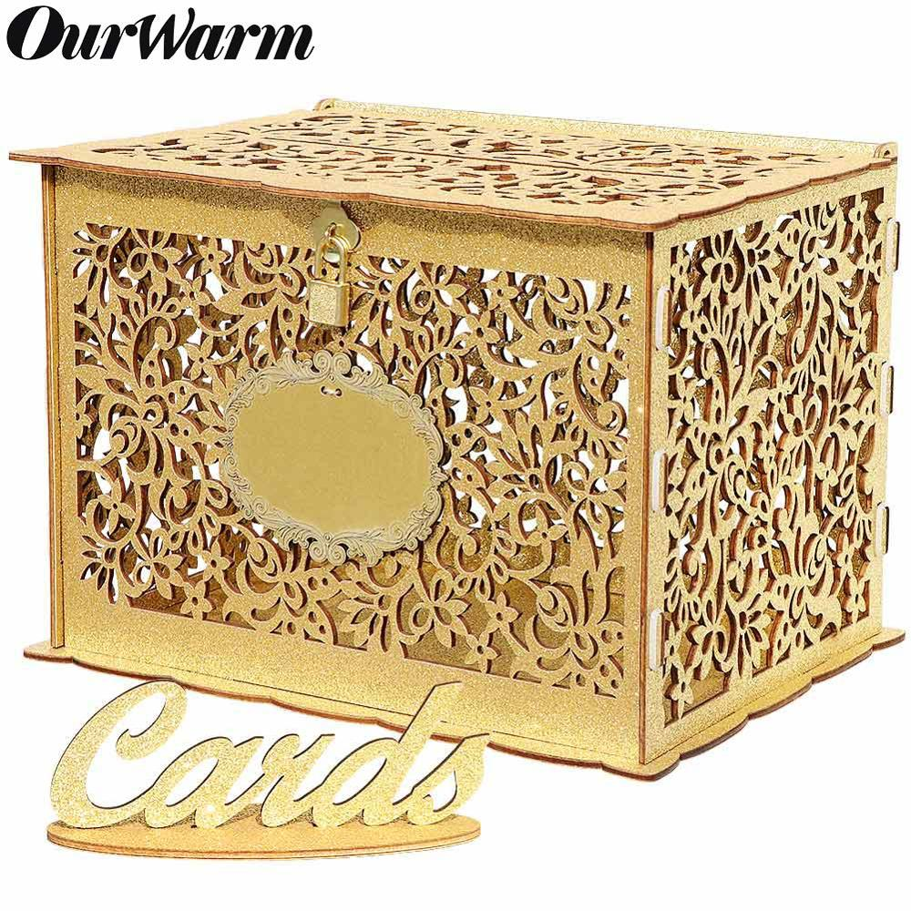 OurWarm Wedding Card Box Baby Shower Birthday Party Decoration Gift Wooden Card Boxes With Lock DIY Money Box 30*24*21.5cm