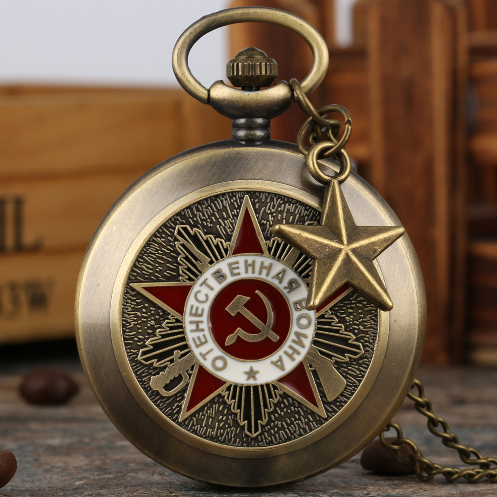 Classic Red White Communist Sign Pocket Watch Male Ussr Clock Classic Alloy Chain Necklace Soviet Union Cccp Reloj De Bolsillo