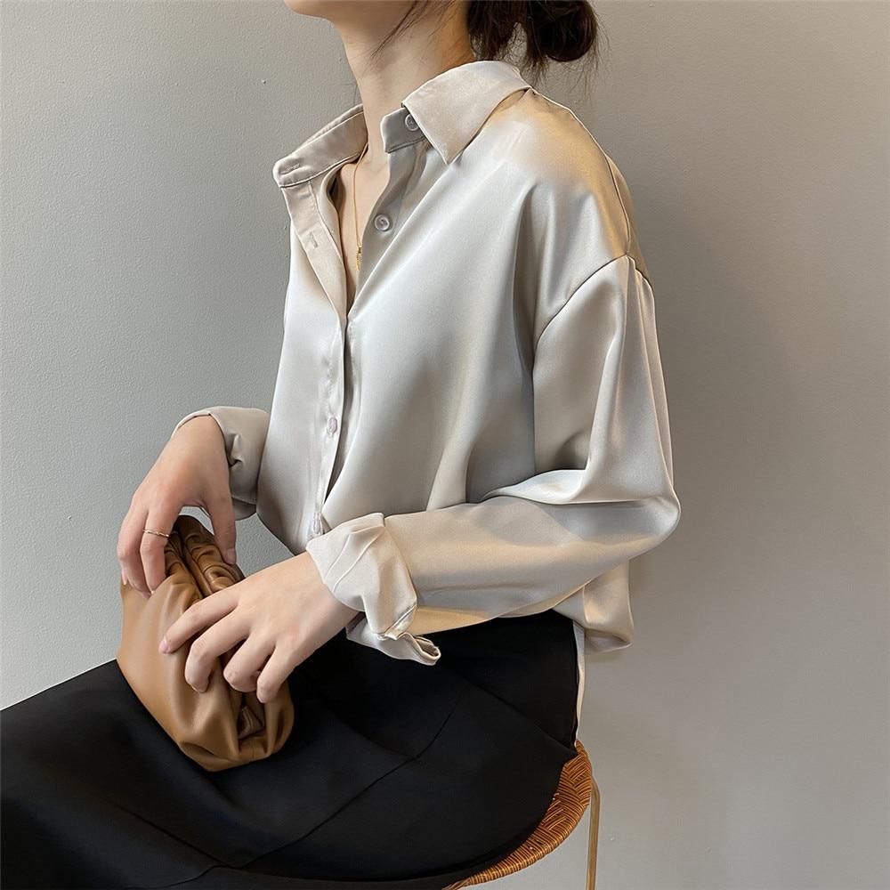 High quality Women Silk Satin Blouse 2020 Summer Women Satin Blouses Shirt Office Long Sleeves Femme V Neck Loose Street Shirts (22)