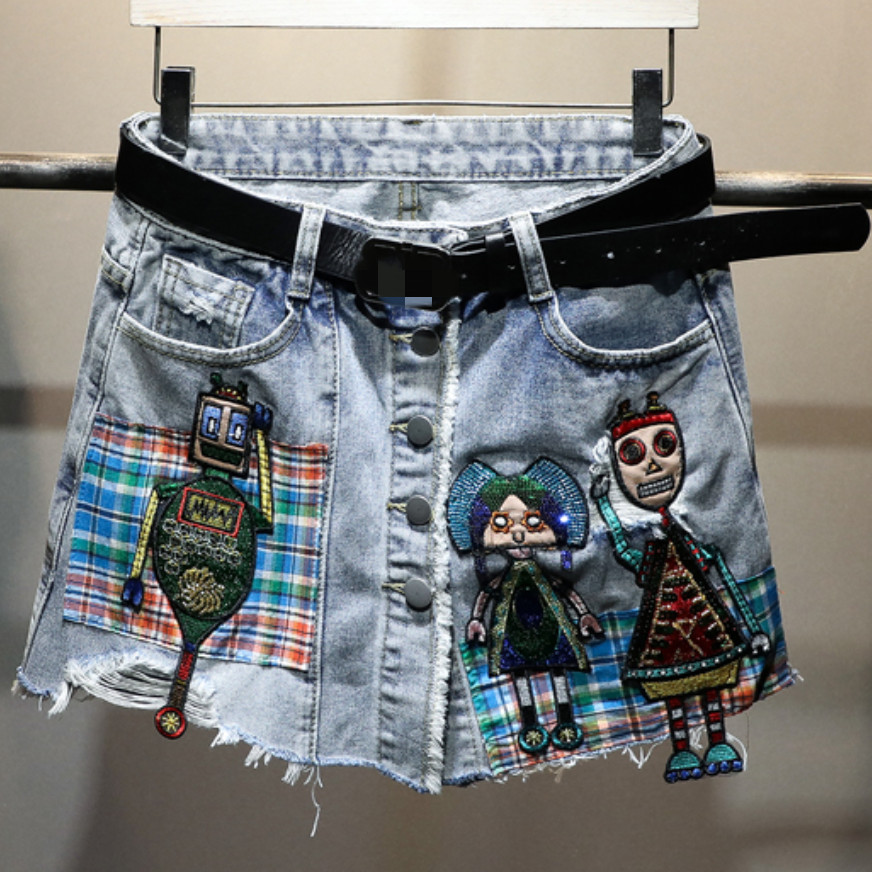 2020 Summer Patch Hole Fake Two Denim Shorts Women Casual High Waist A-line Loose Jeans Shorts Skirt
