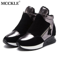 MCCKLE Women Winter Vulcanized Shoes Plush Height Increasing Platform Woman Sneakers Slip On Fashion Female Suede Leather Shoes
