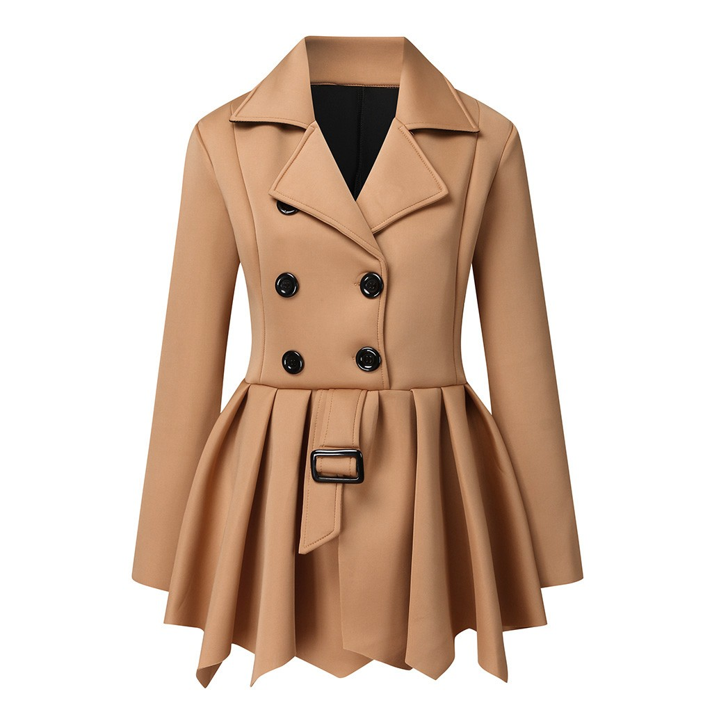 Women Women Slim Fit Lapel Mid Length Trench Coat Jacket Double Breasted Outwear With Belt S 5xl Clothing Shoes Jewelry Avmc Edu In Women's trench coat cashmere wool warm slim fit outwear jackets winter fashion l. avmc