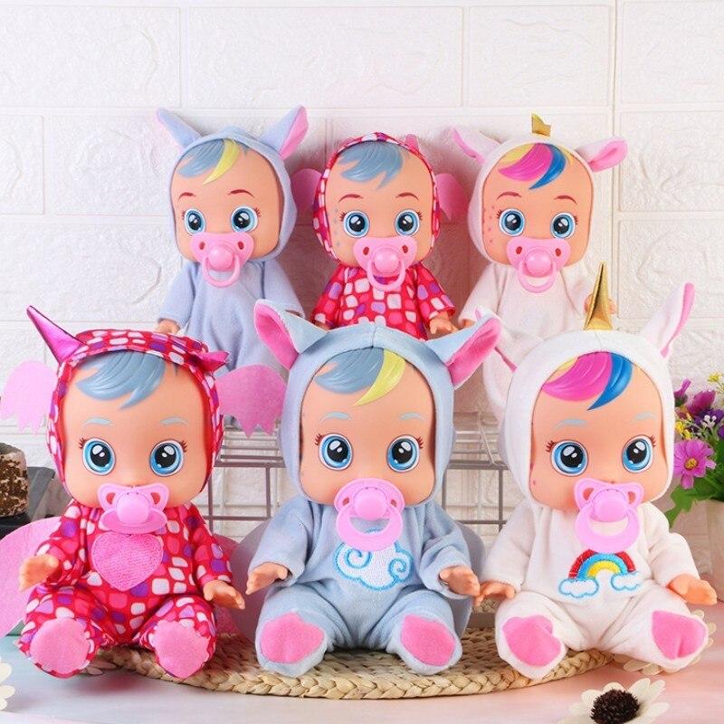 3d silicone unicórnio boneca renascer chorar bebê de alta qualidade lágrimas mágicas boneca jogar casa brinquedos para o presente das crianças
