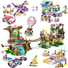 Children's Educational Model Building Blocks Toy Compatible Classic Friends City Girls Hot Air Balloon Login Island Brick Gift(China)