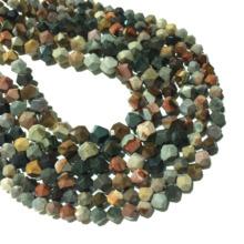 Natural Stone Genuine Picasso Jasper Beads Faceted Round Loose Beads 6 8 10mm Gemstone Healing Energy Jewelry Necklace Bracelet aaa high quality natural genuine clear green blue apatite fluorapatite round loose gemstone beads 15 05722