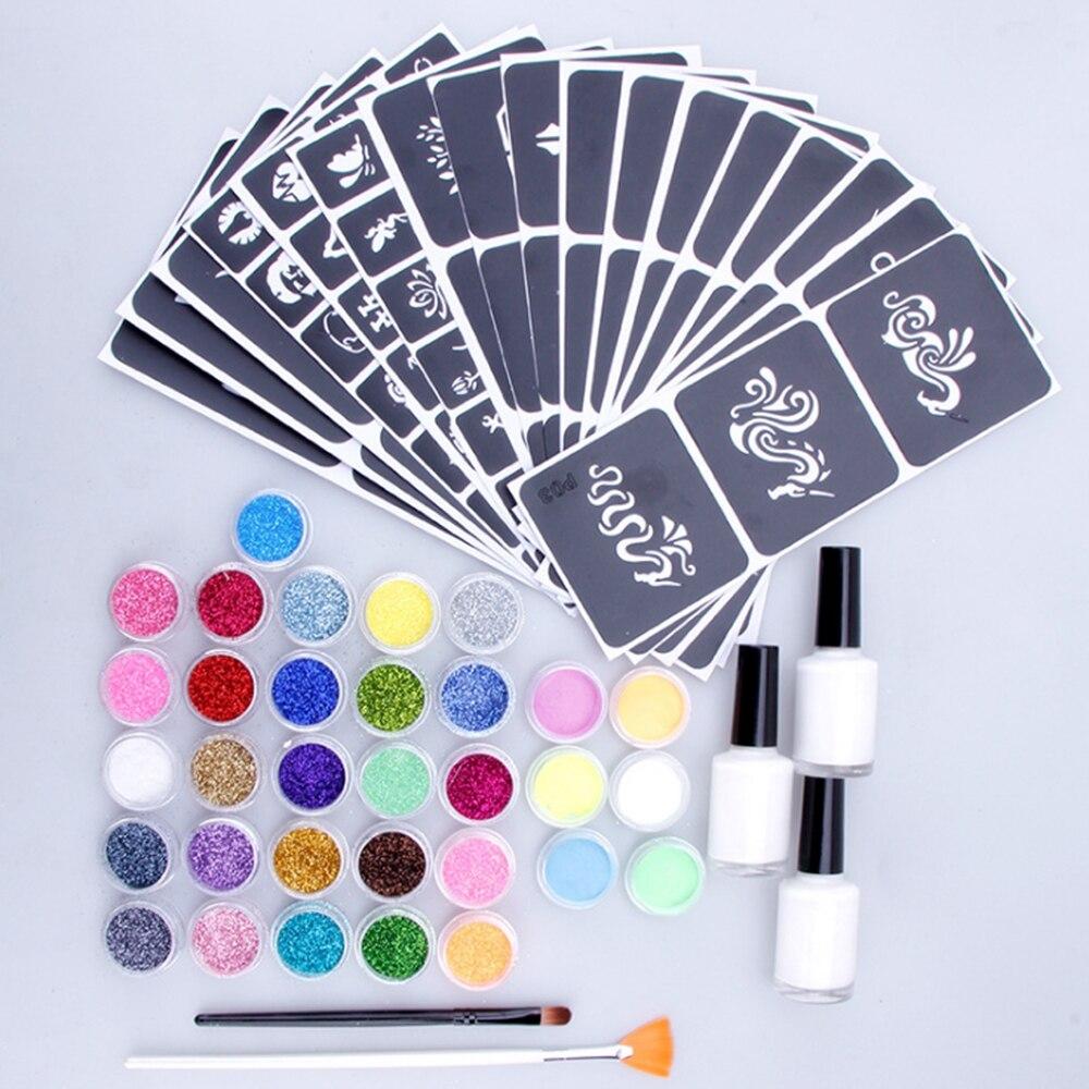 54Pcs Temporary Tattoo Set 26Colors Diamond Glitter Flash Powder 6Luminous Powder 104Templates Face Body Painting Art Tools Suit
