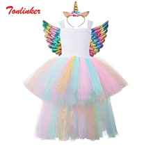 New Kids Rainbow Trailing Costumes Girls Tutu Tulle Dress With Gold Headband Wings Princess Girls Halloween Party Dress 2-8 Year ariel inspired girls tutu dress tulle princess little mermai cosplay tutu dresses for girls kids halloween party costumes 2 12y