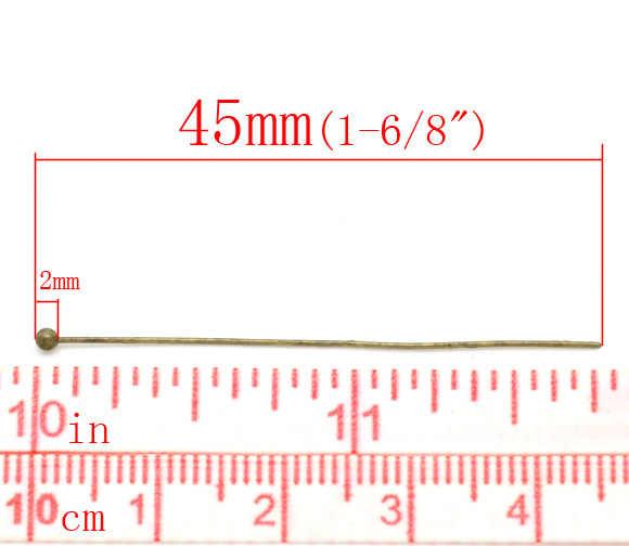 """DoreenBeads Palla di Rame Testa Spilli Bronzo Antico 4.5 centimetri (1 6/8 """") di lunghezza, 0.5mm (calibro), 30 Pezzi 2017 nuovo"""
