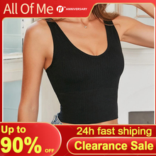 Knitted Tank Top Women Sweater Tops Sexy Camisole Massage Pad Underwear Female Crop Top Backless Sleeveless Intimates Lingerie