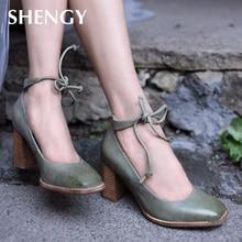 2019 Vintage Mature Women Pumps Classic Patent Leather High Heels Shoes