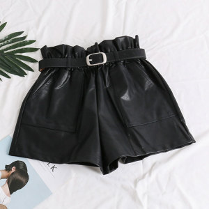 Elastic High Waist Loose PU Leather Shorts Women England Style Sashes Wide Leg Short Ladies Sexy Leather Shorts Autumn Winter(China)
