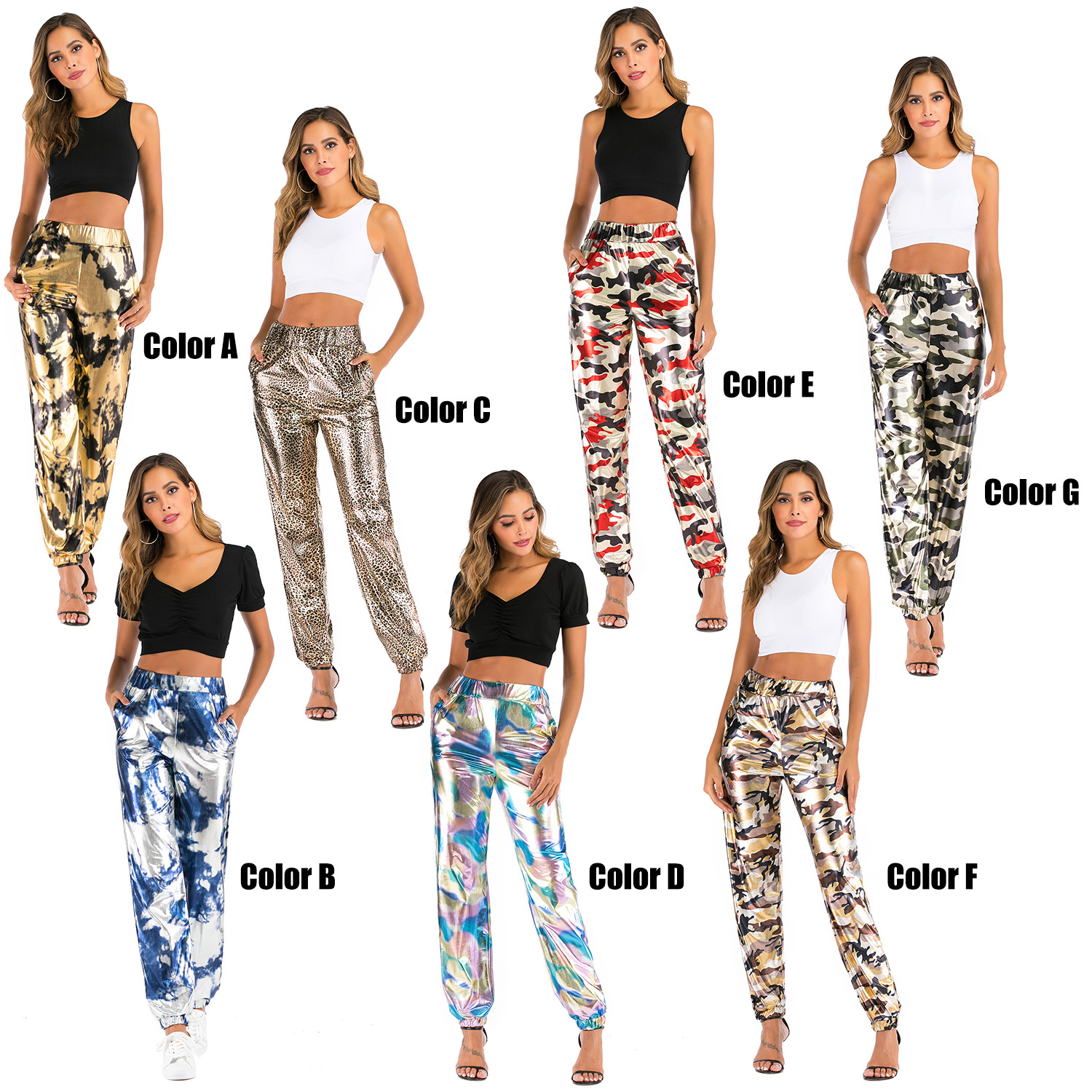Fashion Women Pants High Waist Sports Casual Jogger Pants Sweatpants Hip Hop Trousers Streetwear with Elastic Cuffs Plus Size 9
