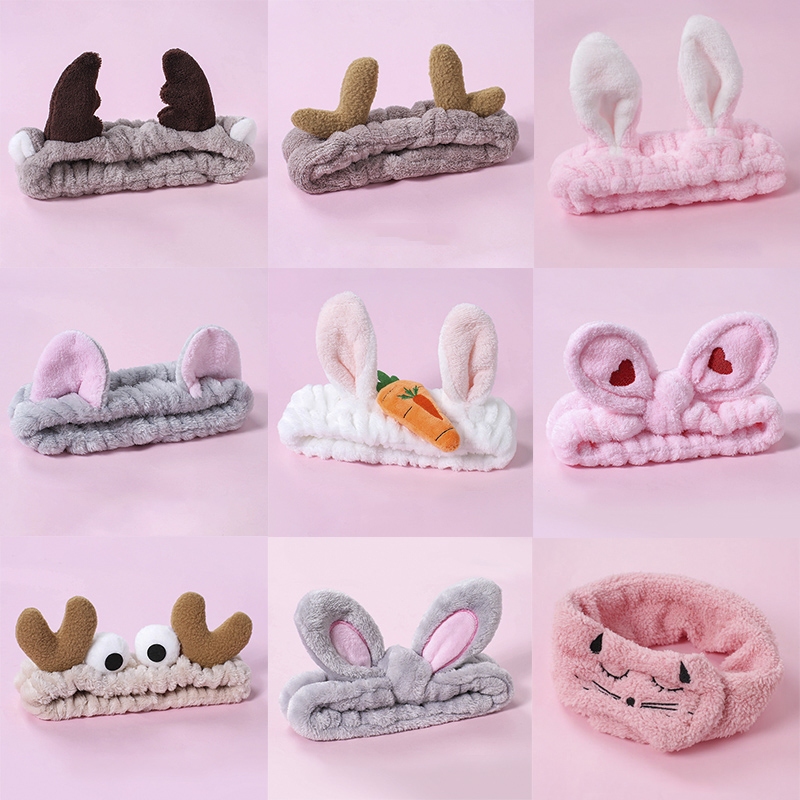 Plush Hair Band Cute Girl And Woman Stretch Hair Band Wash Face Make Up Headwear Bunny Ears Bow Headdress Hair Accessories