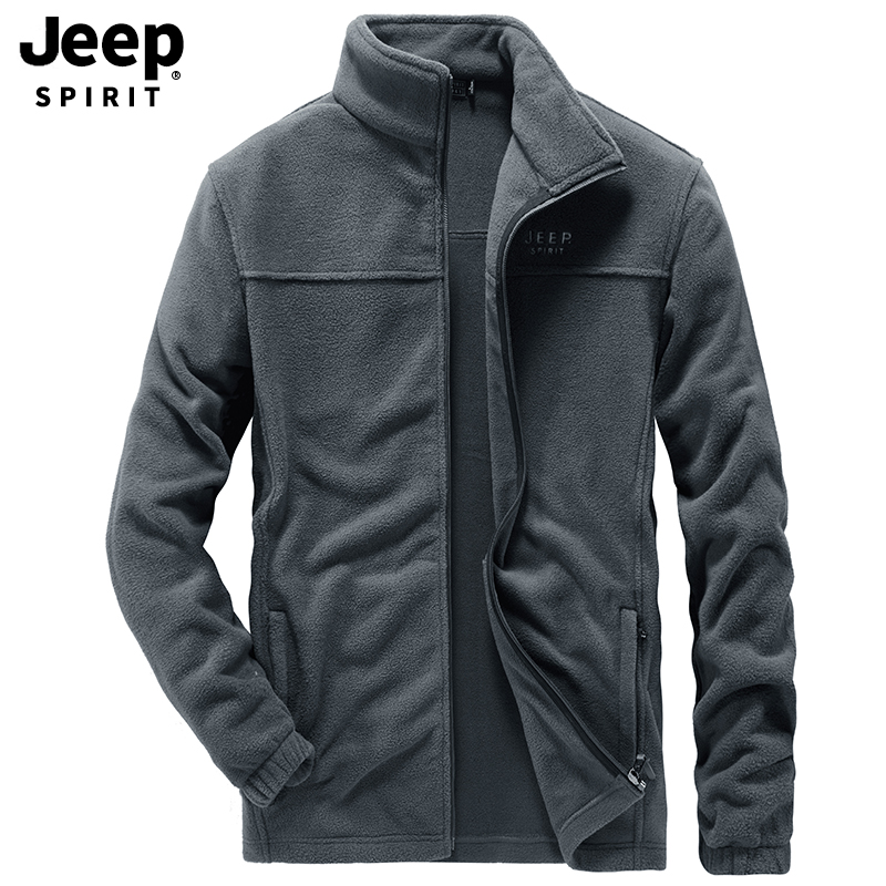 JEEP SPIRIT Autumn Men Jacket Fleece Warm Jacket Men Casual Stand Collar Windbreaker Mens Jackets And Coats Chaqueta Hombre