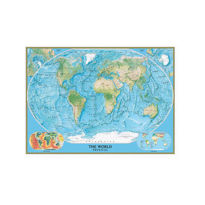 150x100cm The World Physical Map With World Tectonics And Climate For Geographical Research