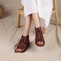 Handmade Retro Leather gladiator boots For Women Lace Up Summer Sandals Open Toe Coffee/Brown