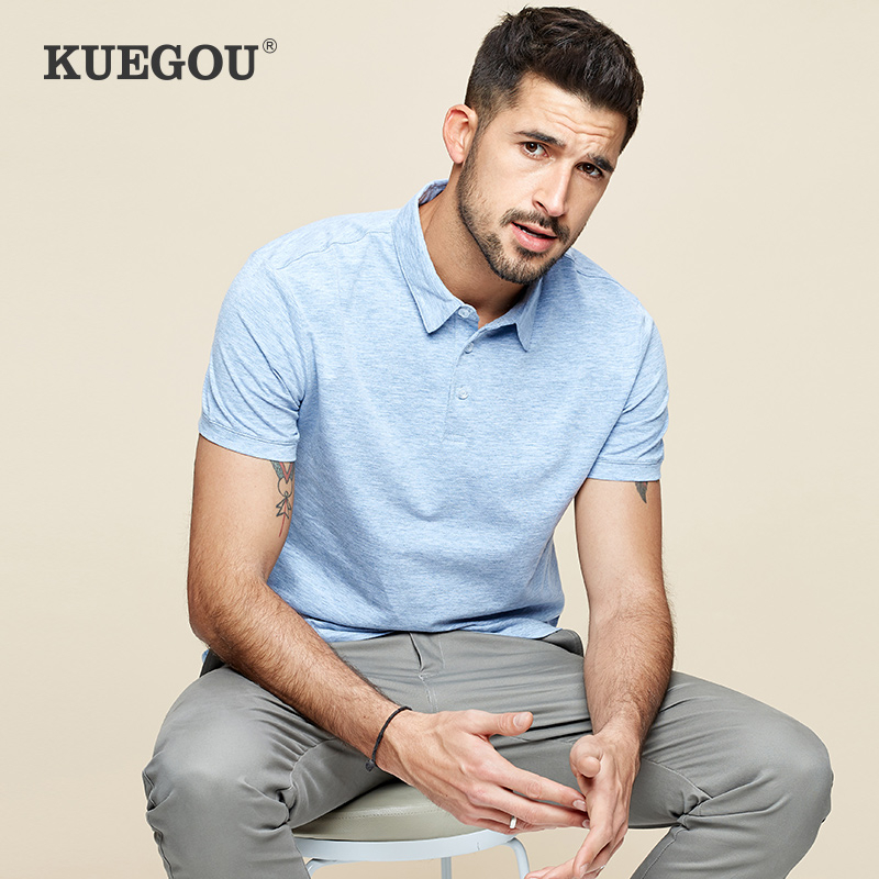 KUEGOU 2020 Summer Cotton Solid Blue   Polo   Shirt Men Fashions Short Sleeve Slim Fit Poloshirt Male Casual Clothes Brands Top 447