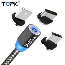 TOPK AM17 светодиодный магнитный USB кабель/Micro USB/type-C для iPhone X Xs Max магнитное зарядное устройство для samsung Xiaomi Pocophone USB C