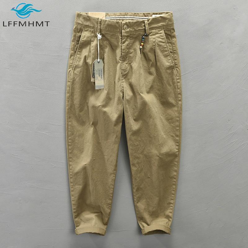Men Autumn Fashion Solid Color Korean Style Harem Pants Male Harajuku Casual Loose Mid Waist Wild Slim Fit Cotton Pencil Trouser