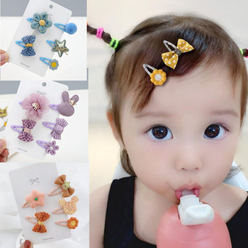 Girls Hair Accessories 5pcs/Set Mini Snap Clips for Baby Girls Cloth Cartoon Animal Bows Flower Toddlers Kids Princess Hairpins