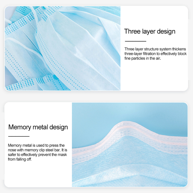 Fast delivery Hot Sale 3-layer mask Face Mouth Masks Non Woven Disposable Anti-Dust Meltblown cloth Masks Care Elastic Earloop 4