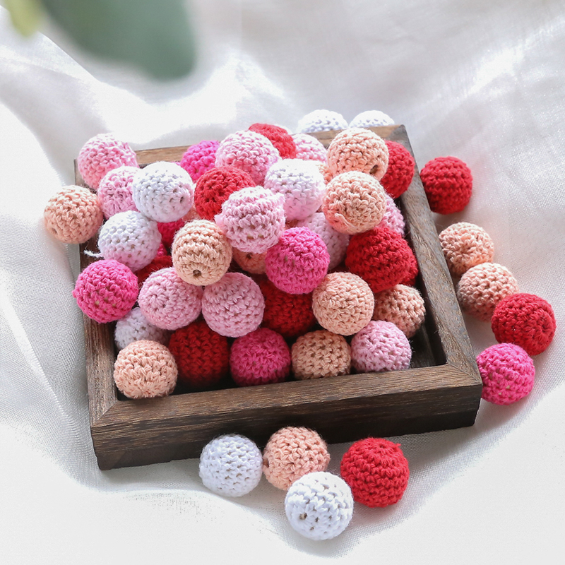 16mm 10pcs Wooden Crochet Beads Baby Teether Chewable Knitting Bead DIY Teething Bracelet Pacifier Chain Montessori Baby Gym Toy | Happy Baby Mama