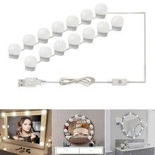 USB светодиодный 5 В макияж лампа 2 6 10 14 лампы Комплект для туалетного столика бесступенчатая диммируемая голливудский косметический зеркальный светильник