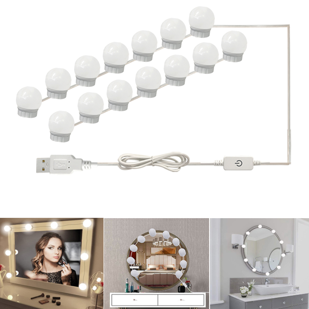 USB LED 12V Makeup Lamp 2 6 10 14 Bulbs Kit For Dressing Table Stepless Dimmable <font><b>Hollywood</b></font> Vanity Mirror Light image