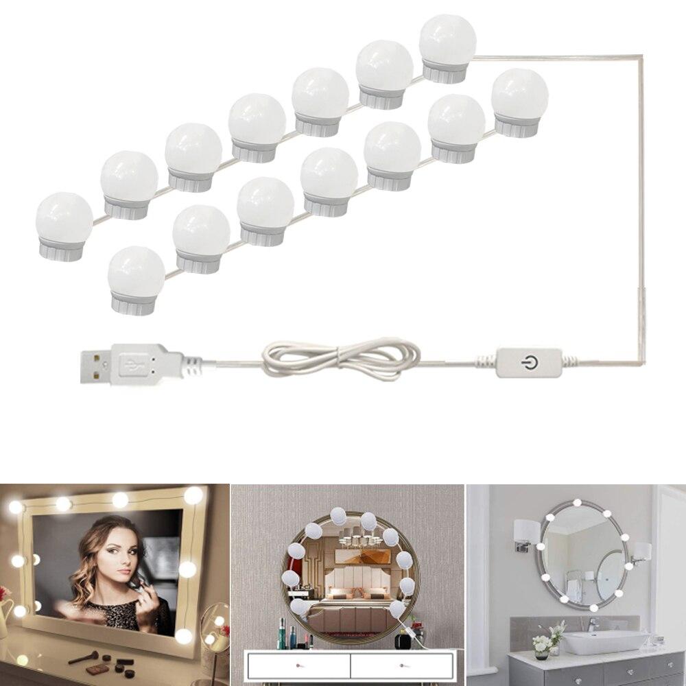 USB LED 5V ماكياج مصباح 2 6 10 14 لمبات عدة ل خلع الملابس الجدول ستبليس عكس الضوء هوليوود المرآة البالونية ضوء
