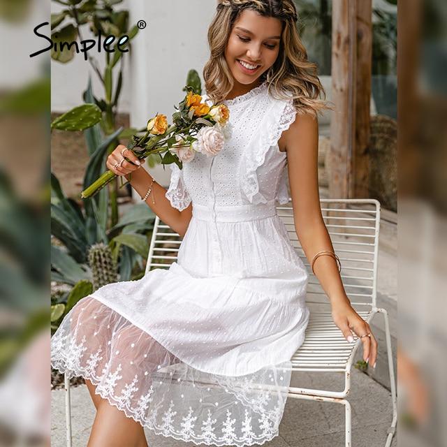 Simple Elegant ruffle lace white dress 1