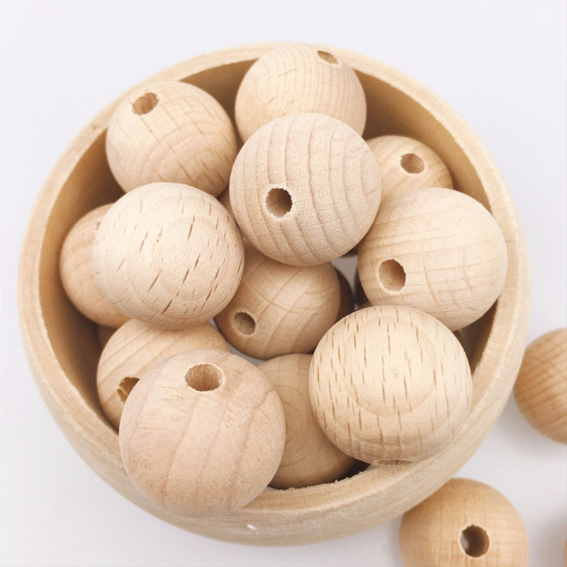 10-150PCS Beech Wooden Chewable 8-20mm Round Beads Ecofriendly Beech Beads DIY Craft Jewelry Accessories Baby Teether