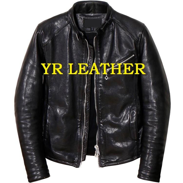 Free Shipping.Pakistan Tanning Sheepskin.Brand Luxury Motor Biker Leather Jacket,mens Fashion Genuine Leather Coat,classic
